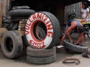 Tire repair shop in Philippines